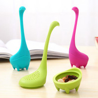 Wholesale wholesale tea infuser mugs - Loch Ness Monster Tea Infuser Mug Cup Silicone Tea Strainer Filter Kitchen Dining Bar Teaware Set DDA596