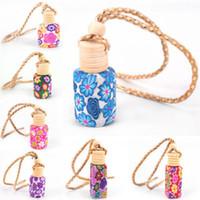ingrosso bottiglie di vetro art-Arte floreale stampata appeso deodorante per auto diffusore di profumo diffusore bottiglia di profumo colore casuale bottiglia di profumo di vetro vuota regalo arredamento auto