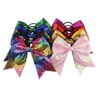 cabeleireiro venda por atacado-DHL navio rápido 8 polegadas Cheerleading Arco Cheerleading Bow For Girls Boutique Grande Arco Cheerleading Cabelo mulheres lady lantejoulas Acessórios Para o Cabelo