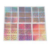 çivi çıkartması şablonları toptan satış-ELECOOL 6 adet Renkli Karışık 3D Tasarım Nail Art Hollow Etiketler Stencil İpucu Şablon PVC Manikür Çıkartmaları Dekorasyon Rastgele tarzı