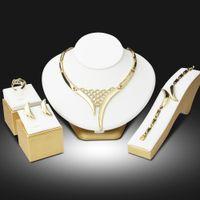 Wholesale jade jewellery sets - whole saleDubai Gold Color Jewelry Sets Nigerian Wedding African Beads Crystal Hollow Bridal Jewellery Set Rhinestone Ethiopian Jewelry