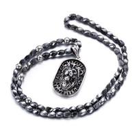 afrikanische perlenkette für männer großhandel-Punk Edelstahl Löwenkopf Anhänger Halskette Für Männer Afrikanisches Grau Eisen Stein Perlen 75 cm Lange Halskette Vintage Zubehör