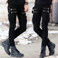 schwarze skinny jeans mode männer großhandel-Reißverschluss Fliege Grün Schwarz Motorrad Denim Biker Jeans Herren Skinny Slim Elastic Jeans Hiphop Washed New Hot Fashion