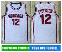 Wholesale Hot Johns - HOT GONZAGA NCAA Stitched 12 John Stockton Stitched embroidery Swingman jerseys Jersey SHIRTS cheap whole sport basketball