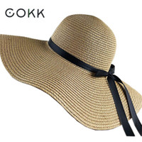170f496a COKK Summer Hats For Women Chapeau Femme Sun Hat Beach Panama Straw Hat  Large Wide Brim Black Ribbon Bow Visor Bone Female Cap