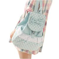 dantel tuval çantası sırt çantası toptan satış-2015 Kadın Sırt Çantaları yay Marka okul çantası dantel tuval Sırt Çantası nokta baskı seyahat Çantaları yüksek kaliteli kız çanta APB17