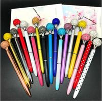 Wholesale favor art - Bling Ballpoint Pens with Big Ball Diamond Crystal Gem Wedding Ball Pens Writing Supplies Office Favor WJ003