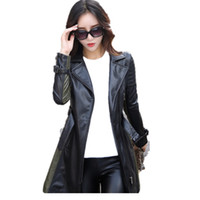 Wholesale zipper design trench coat - leather jacket women Autumn Winter Faux Leather Jackets Lady Long design Motorcycle Style Lady black green Trench Coat 6707