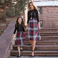 Wholesale plus size mother daughter matching clothes resale online - Christmas Mother and Daughter Clothes Family Matching Clothing Student Dress girls Skirt women ladies Outfit Plus Size XL Fat girl QZZW097