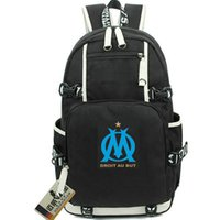 Wholesale team soccer bags - Olympique de Marseille backpack Club badge school bag Football team daypack Soccer schoolbag Outdoor rucksack Sport day pack