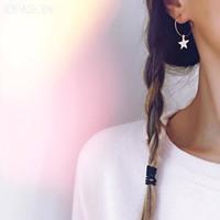 joyería popular de corea del sur al por mayor-Popular Tendencia Tendencia Personalidad Estrella simple Oído Círculo Pendientes Mujer Corea del Sur Joyería