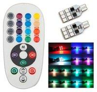 Wholesale indicator parking car online - T10 Car LED Wide Light Seven Colors Remote Control RGB Marker Light Parking Lights Slide Traffic Light SMD Indicator Lights