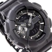 Wholesale watch g shock black - 2017-big G watch, digital LED men's sports quartz watch, outdoor waterproof rubber army wrist ga110, all functional work, box 48 time zone