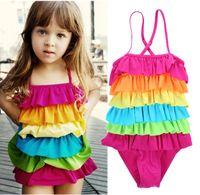 ab1eeb5cd Baby Girls Rainbow One Piece Swim wear Traje de baño Lovely Dress Bikini  Swiming Beach Use trajes de baño para niñas