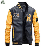 Wholesale White Faux Leather Jacket Men - New Men Embroidery Baseball Jackets Coats Pu Faux Leather Slim Fit Zipper Casual College Luxury Brand Coat