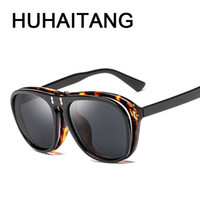 Wholesale google sunglasses for sale - Group buy HUHAITANG New Google Double Lens Sunglasses Women Men Vintage Personality High Quality Clamshell Sun Glasses UV400 Brand Eyewear