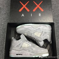 Wholesale Classic Leather Golf Shoes - CLASSIC KAWS XX AIR RETRO IV COOL GREY 4 4S MEN BASKETBALL SHOES Authentic SPORTS SNEAKERS TOP QUALITY WITH ORIGINAL BOX US7-13 2018 NEWEST