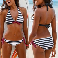 Wholesale Bikini Brazillian - 2018 New Sexy Women Bikinis Two-Piece Swimsuit Halter Top Striped Brazillian Bikini Set Bathing Suit Beach Wear Biquini