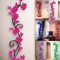 ingrosso materiale adesivo smontabile-Fai da te 3D Fiore Decalcomania del vinile Decor Art Home Living Room Wall Sticker Rimovibile Murale acrilico Materiale adesivi per la decorazione della casa