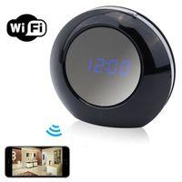 mini despertador de escritorio al por mayor-HD 1080 reloj despertador Wifi Netwoork cámara reloj de escritorio Mini cámara interior Mini videocámara Nanny cámara cámara de seguridad inalámbrico para el hogar