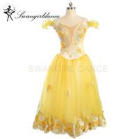 vestido de tutú amarillo para adultos al por mayor-Mujeres románticas Sugar Plum Fairy Yellow Ballet Tutu vestido largo faldas Adulto profesional etapa bailarina Tutu vestido niñas BT9167