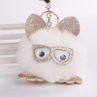 hasenbrille großhandel-Cute Handmade Bag Anhänger Pu Leder Ohr Faux Bunny Rabbit Keychain Flaumige Gläser Owl Key Schnalle Mode 4 5wj BB