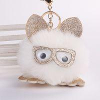 Wholesale handmade leather keychains online - Cute Handmade Bag Pendant Pu Leather Ear Faux Bunny Rabbit Keychain Fluffy Glasses Owl Key Buckle Fashion wj BB