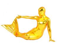 traje de látex de corpo inteiro venda por atacado-Frete Grátis marca Sexy Adulto Shiny Metallic Mermaid Zentai Traje Do Corpo Inteiro Coberto Material de Spandex 13 cores
