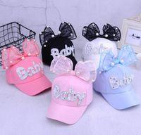 Wholesale children rabbit ball hat online - Children net hat summer baby cute rabbit ears sun hat baby big pearl bow baseball cap MZ001