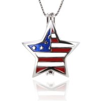Wholesale wholesale jewelry 925 usa - New arrivals 2pcs 925 Sterling Silver flag of the USA Stars and Stripes Cage pendants, 20.4*17.8*9.5mm, Fashion Jewelry, Jewelry Making
