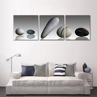 lona todavía vida pintura al por mayor-Sin marco 3 paneles Pebble Canvas Painting Modern Home Decoration Living Room Arte de la pared de la vida Poster e impresiones