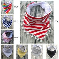 Wholesale lace triangle scarfs for sale - Infant Saliva Towel Burp Cloths Children Feeding Care Scarf Triangle Baby Bibs Double Layer Lace Tassel Slobber Bandana Cartoon