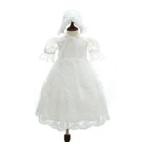 4429d4622b4 2018 Summer Vintage Lace battesimo abito lungo stile neonato battesimo  bianco 1 ° festa di compleanno Baby Girl Wedding Princess Dress