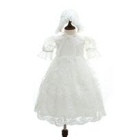 c67137eacf9c9 2018 Été Vintage Dentelle Robe De Baptême Long Style Nouveau-Né Baptême  Blanc 1er Fête D anniversaire Bébé Fille De Mariage Princesse Robe