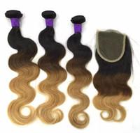 27 extensiones de cabello humano de color al por mayor-El pelo humano brasileño de Remy de la onda del cuerpo teje 3/4 paquetes con el cierre Ombre 1b / 4/27 color doble tramas extensiones del pelo