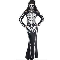 ropa de lujo para las mujeres al por mayor-Las nuevas mujeres arropan a las mujeres el vestido esquelético largo de lujo Cosplay del cráneo del traje de la manga completa las vestimentas de Halloween visten el desgaste del club del partido