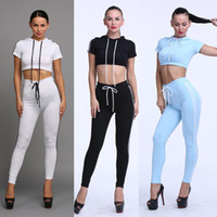 Wholesale Tight Swimming Suit - Sexy Women Tracksuits Solid Women Short Sleeve Hooded Crop Tight Skinny Pant 2pc Set Casual Suit For Night Club