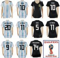 Wholesale football angels - Wholesale - Women Argentina Jersey Soccer 2018 World Cup Woman 10 Lionel Messi Lady Football Shirt Uniforms 11 Angel Di Maria 14 Javier Masc