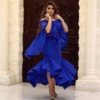 estilos completos do vestido formal venda por atacado-Azul Royal Cheia Do Laço Prom Vestidos Arábia Saudita Cape Style Sereia Vestidos de Noite Comprimento Chá Formal Vestido de Festa Custom Made Mulheres Formal Wear