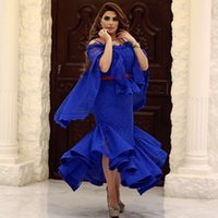 vestido largo de capa al por mayor-Royal Blue Full Lace Prom Dresses Arabia Saudita Cape Style Sirena Vestidos de noche Longitud del té Formal Party Dress Custom Made Women Formal Wear