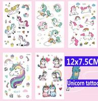 autocollants de tatouage enfants achat en gros de-12x7.5CM Licorne Tatoo autocollants Pour Enfant Mignon nicorn cheval de bande dessinée enfants enfants art du corps constituent des outils Tattoo Paste KKA6248