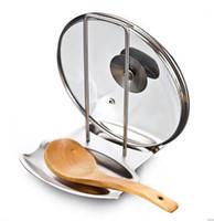 capas de rack venda por atacado-1 PCS acessórios de cozinha tampa da panela de aço inoxidável prateleira organizador da cozinha pan tampa tampa rack stand esponja colher titular prato