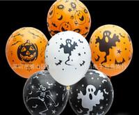 cabezas de globos al por mayor-Halloween Látex Globos Fantasmas Piratas Fantasmas Calabaza Cabeza Globos Naranja Negro Globos decorativos Suministros de fiesta Decoración de la fiesta