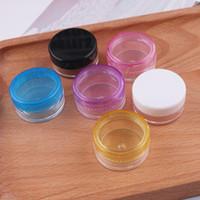 frasco cosmético de calidad al por mayor-Glitter Clear Pot Jars 5g Contenedores cosméticos de plástico de la mejor calidad para maquillaje, sombra de ojos con tapas de color