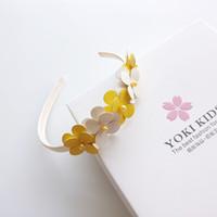 cintas de flores de niña bebé amarillo al por mayor-1 UNIDS Nuevas Flores Amarillas Y Blancas Aro de Pelo Boutique Baby Hairbands Princesa Headwear Niñas Accesorios Para el Cabello Niños Diademas