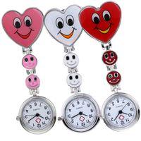 Wholesale unisex heart shaped glasses resale online - unisex fashion women ladies love heart smile shape nurse watches new doctor medical clock quartz FOB pocket watches for nurse