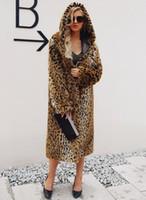 faux de piel americana al por mayor-Ropa de mujer Abrigo de Damas de Invierno Europeo Americano Talla grande Mujer Fit Suelta Plush Leopard Grain Faux Fur Abrigo Largo Con Capucha