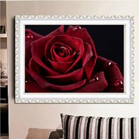 Wholesale 5d paintings resale online - Landscape painting red rose DIY D diamond suture ring D diamond needling suit diamond Mosaic room decoration