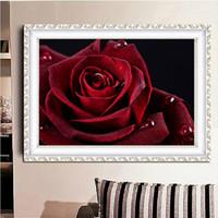 roter rosafarbener diamantring großhandel-Landschaftsmalerei rote rose DIY 5D diamant naht ring 3D diamant nadel anzug diamant Mosaik raumdekoration