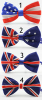 Wholesale flags tie - Novelty Polyester Bowtie Noeud Papillon Men Women Bow Tie Colorful Self Tie Neckwear USA UK Flag Bow Ties